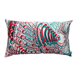 "KOKO - Wild Pillow, Peacock, 15"" x 27"" - Shake your tail feather! This proud bird, screen-printed on imported cotton in bold blue and red, reflects your eclectic style. It'll make your couch look even cooler."