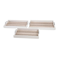 iMax - EThereal Snakeskin Trays, Set of 3 - Shake, shimmy or crawl on your belly like a reptile: Do whatever it takes to acquire this trio of white, leather-look serving trays with iron handles and lined in faux snakeskin.