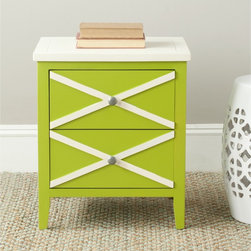 Safavieh - Safavieh Sherrilyn Lime Green/ White 2-drawer Side Table - Place this Safavieh side table with drawers in your space for an instant pop of crisp lime green color. The classic design with two drawers allows you to keep necessary items within reach, making it great next to a couch or for bedside use.
