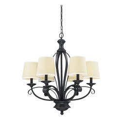 Six Light Burlap Shade Cr��_��_me/matte Back Up Chandelier - Burlap  shades and bold matte black hardware create a modernly styled fixture, with plenty of traditional charm. This 6 light fixture is truly the best of both the modern and traditionally styles of lighting decor.