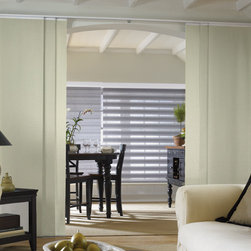 Bali - Bali Sliding Panels: Satin & Satin Stripe - Bali Sliding Panels offer a modern alternative to standard window treatments that's perfect for patio doors, wide windows or as a room divider.  The room darkening Satin & Satin Stripe fabric collections feature basic solid tones that are perfect for creating a layered or coordinating look within your decor.