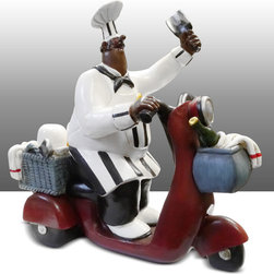 Black Chef Kitchen Statue On Bike Table Art Decor - Beautiful Kitchen Counter Table Top Art Decoration fo Bistro Cook or Restaurant.