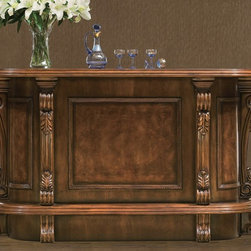 Yellowstone Bar - Yellowstone bar in Antique Walnut finish.  Bar features solid walnut wood construction with exquisite hand-carved details, velvet-lined drawers, beverage racks & bar accessory storage.