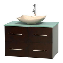 Wyndham Collection - 36 in. Single Bathroom Vanity in Espresso, Green Glass Countertop, Arista Ivory - Simplicity and elegance combine in the perfect lines of the Centra vanity by the Wyndham Collection . If cutting-edge contemporary design is your style then the Centra vanity is for you - modern, chic and built to last a lifetime. Available with green glass, pure white man-made stone, ivory marble or white carrera marble counters, with stunning vessel or undermount sink(s) and matching mirror(s). Featuring soft close door hinges, drawer glides, and meticulously finished with brushed chrome hardware. The attention to detail on this beautiful vanity is second to none.