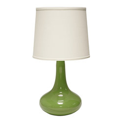 "Haeger Potteries - Contemporary Haeger Potteries Gene Ceramic Leaf Green Table Lamp - Haeger Potteries has been headquartered northwest of Chicago on the clay-rich banks of the Fox River since 1871. As America's oldest and largest producer of pottery Haeger is renowned for gorgeous glazes the result of over four generations of development by expert craftsmen. This impressive table lamp features a teardrop-style ceramic base in a leaf green finish with a cream linen fabric shade up top. Ceramic table lamp. Teardrop shape base. Leaf green finish. Cream linen shade. Takes one 150 watt max bulb (not included). 26"" high. Shade is 11"" across the top 13"" across the bottom 11"" high. Base footprint is 12"" round.  Ceramic table lamp.  Teardrop shape base.  Leaf green finish.  Cream linen shade.  Made in USA.  Takes one 150 watt max bulb (not included).  26"" high.  Shade is 11"" across the top 13"" across the bottom 11"" high.  Base footprint is 12"" round."