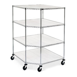 """Frontgate - Oversized Metallic Four-Tier Corner Shelf with Liners - Each four-tier storage shelf holds up to 1600 stationary lbs.. Extra deep storage shelving (35"""" from front to back) holds bigger, bulky loads. Includes semi-clear polypropylene liners for each shelf to keep smaller objects from falling through. Garage storage easily assembles. Storage shelves adjust to any desired height. Our Oversized Garage Storage Shelving was designed to take on the bigger items in your garage or basement. Constructed of sturdy steel, this garage storage cabinet will accommodate everything from kayaks to heavy home supplies without a flinch.. . .  . . Optional casters (sold separately) won't buckle under big loads, and make relocation easy. Chrome-finished. When relocating the garage storage system across an uneven surface, off-load the cart to 200 lbs. or less total. When stationary, the casters can hold up to 300 lbs. See shelf assembly instructions and corner shelf assembly instructions (PDF format)."""