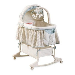 Delta - Delta Clayton Bassinet - This classic looking bassinet has an electronic mobile attached with three plush toys. Bassinet has an adjustable height for ultimate convenience, a rocking base with retractable locking castors, and a large under storage basket.