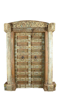 """Sierra Living Concepts - Oriental Hand Carved Reclaimed Teak Doors & Arch Frame - Celebrate the simplicity of classic design with our Oriental Double Doors with a Hand Carved Arched Frame. The coloring and sleek design adds a sense of lightness to the handmade door set. The traditional entryway measures 61"""" long and 88"""" high. The solid hardwood doorway was made with teak wood. Teak is an exceptional wood and used by fine craftsmen for centuries because of its strength, durability and fine wood grain."""