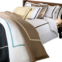 Bed Linens - Hotel Collections 300 Thread Count Cotton Duvet Cover Set King/Cal-King Mocha/Ho - 300 Thread Count Solid Duvet Cover SetsHotel Collection