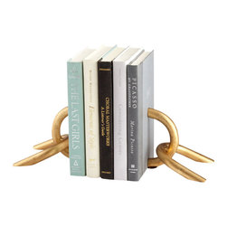 Cyan Design - Goldie Locks Bookends - The Goldie Locks Bookends are a simple, clever design for any home library.  Small but sculptural, the Goldie Locks Bookends feature a gold leaf finish on a chain link design.  This playfully sophisticated pair of gold bookends will stand up to your favorite literary collections or make a great gift for that special bibliophile in your life.