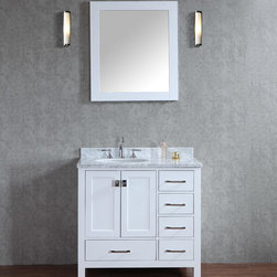 "NEW 36"" Bella Bathroom Vanity / Vanities - Beautiful transitional style bathroom vanity by Ari Kitchen and Bath, a new brand manufacturing quality bathroom decor at affordable prices. The new 36"" Bella comes with 1"" edge Italian carrara marble top, backsplash, undermount CUPC basin, soft-closing drawers & doors, concealed drawer hinges, white frame mirror and white solid wood bathroom cabinet. Absolutely no MDF or Particle board on all of our bathroom vanities. All of our bathroom vanities come assembled by the manufacturer, minimal assembly required."