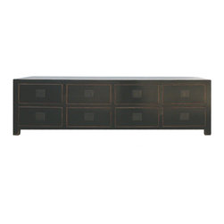 Golden Lotus - Black Lacquer Multiple Drawers Low Altar Table TV Entertainment Cabinet - This is a black lower alter table which is is hand made with solid wood.  It can be used as flat screen LCD/ Plasma TV cabinet. The drawers can be stored your CD/DVD.