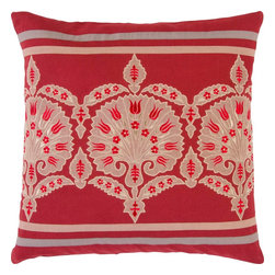 "Surya - Surya SI-2002 Stripes And Suzani Pillow, 18"" x 18"", Down Feather Filler - Add a sense of opulence to your space with this lavish pillow! Featuring a contemporary, beige colored pattern against a radiant red backdrop, this piece will fashion a mature, and modern look that translates from room to room. This pillow contains a zipper closure and provides a reliable and affordable solution to updating your home's decor."