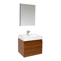 Fresca - Nano Modern Bathroom Vanity w Medicine Cabinet (Isarus Chrome) - Choose Included Faucet: Isarus ChromeSingle Hole Faucet Mount (Faucet Shown In Picture May No Longer Be Available So Please Check Compatible Faucet List). Nested Drawer Storage System (Soft Closing Drawers). P-trap, Faucet, Pop-Up Drain and Installation Hardware Included. With overflow. Sink Color: White. Finish: Teak. Sink Dimensions: 20.25 in. x13 in. x4 in. . Medicine Cabinet: 19.5 in. W x 26 in. H x 5 in. D. Materials: MDF with Acrylic Countertop/Sink with Overflow. Vanity: 23.38 in. W x 18.75 in. D x 21.25 in. HThis vanity is striking in its simplicity. Don't forget to check under the hood with the innovative storage system from Blum that includes a nested drawer. Perfect for smaller bathrooms.