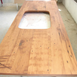 Nantucket reclaimed lumber heart pine counter top - Reclaimed heart pine with a salem maple stain. The cutout is for an undermount sink! glenn pafford