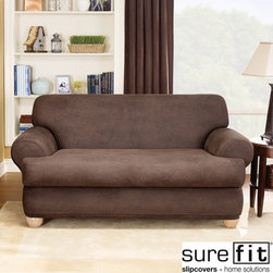 Sure Fit - Sure Fit Stretch Faux Leather 2-piece T-cushion Sofa Slipcover - Relax in style with this 2-piece Stretch T-Cushion sofa slipcover from Sure Fit. The faux leather fabric,solid color pattern and stretch design will make your favorite seat in the house even better.