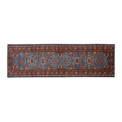 1800 Get A Rug - Hand Knotted Super Kazak Sky Blue Runner 100% Wool Oriental Rug Sh15282 - Our Tribal & Geometric Collection consists of classic rugs woven with geometric patterns based on traditional tribal motifs. You will find Kazak rugs and flat-woven Kilims with centuries-old classic Turkish, Persian, Caucasian and Armenian patterns. The collection also includes the antique, finely-woven Serapi Heriz, the Mamluk Afghan, and the traditional village Persian rug.
