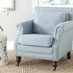 Safavieh - Safavieh Karsen Sky Blue Club Chair - Timeless,elegant and yet perfect for today's casual lifestyle,the classic roll arm club chair gets refreshed in our sophisticated Karsen.