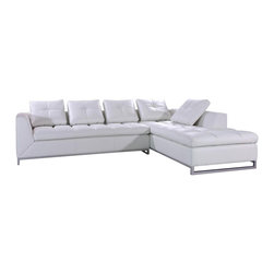 VIG Furniture - Rigatto White Top Grain Leather Sectional Sofa - The Rigatto sectional sofa is a great choice for any living room that needs a touch of modern design. This sectional sofa comes upholstered in a beautiful white top grain leather in the front where your body touches. Skillfully chosen match material is used on the back and sides where contact is minimal. High density foam is placed within the cushions for added comfort. Only solid wood products were used when crafting the frame making it very durable. Attached to the bottom of the sectional is chromed steel legs that add to the overall look.