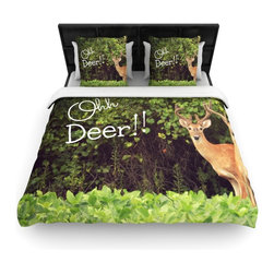 "Kess InHouse - Robin Dickinson ""Ohh Deer"" Green Brown Cotton Duvet Cover (Queen, 88"" x 88"") - Rest in comfort among this artistically inclined cotton blend duvet cover. This duvet cover is as light as a feather! You will be sure to be the envy of all of your guests with this aesthetically pleasing duvet. We highly recommend washing this as many times as you like as this material will not fade or lose comfort. Cotton blended, this duvet cover is not only beautiful and artistic but can be used year round with a duvet insert! Add our cotton shams to make your bed complete and looking stylish and artistic!"