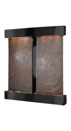 Cottonwood Falls Wall Fountain, Blackened Copper, Multi Color Slate, Square Fram - The Cottonwood Falls Wall Fountain is a centerpiece of serenity and beauty of nature that is perfect for your home or office. It exudes an experience of being one with nature within your own workplace or living room.