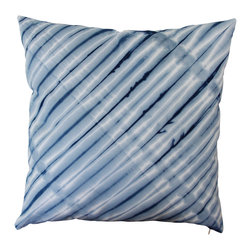 The Tangled Path - Striped Shibori Cushion - A luxurious 100% cotton twill has been hand dyed indigo blue with a thin indigo and white striped design. Perfect for your nautical style beach home or lake house, or just for a beach bum at heart!
