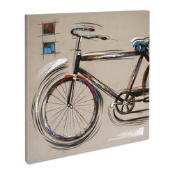 "Vertuu Design - 'Recreation II' Artwork - Get a simple, retro look in your home using the ""Recreation II"" Artwork. Hand-painted on beige linen, this piece features a moving black bicycle with red, blue, purple and yellow brushstroke accents. Hang it in a living room or bedroom for a fresh, quirky feel or pair it with its sister piece, ""Recreation I."""