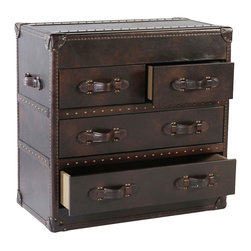 "Milburn 4-Drawer Leather Hallway Chest In Toblerone Leather - The Milburn ""Ready To Ship"" leather storage hallway trunk measures W34"" x D18"" x H33"" and features a sturdy hardwood frame, rich ""Toblerone"" leather, 4-drawer storage and beautiful hand-hammered nailhead trim."