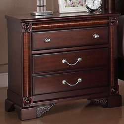 None - Rhapsody 2-drawer Nightstand - This Rhapsody nightstand brings an elegant and refined feeling to your master suit or guest room. The dark cherry finish is accented by unique zebra wood pilasters and the bright silver knobs and drawer pulls add beautiful contrast.