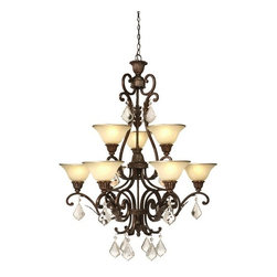 Artcraft Lighting - Artcraft Lighting AC1829 Chandelier from the Florence Collection - Florence 9 lite 2 tier chandelier carefully decorated with caramelized glassware with hand applied gold trim set on top of detailed shapes of various shadings of bronze finishing, with beautiful compliments of crystal jewels (Also compatible with Energy Efficient screw type compact fluorescent bulbs).  Features: