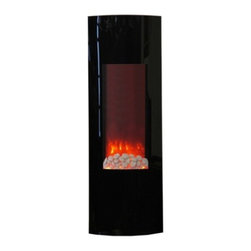 Yosemite Home Decor - Tower Yuna 42 - Beautifully crafted 42 inch electric fireplace tower featuring a curved black face. Both faux river rock and wood features included. Ability to mount on a flat wall as well as a corner. Remote control included to conveniently adjust the heat and flame. Comes ready for all seasons with the ability to work the flame independently from the heat for year-round enjoyment.