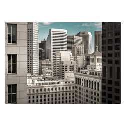 "The Built Environment - San Francisco Fine-art Photograph, 24"" X 16.75"" - This abstract photo of countless overlapping office buildings and windows is just what the title implies – a portrait of the built environment.  San Francisco's density is felt from edge to edge of the frame as it offers no real point of reference nor any iconic San Francisco features, it simply captures the claustrophobic nature of being in The City's downtown core."