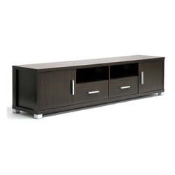 Wholesale Interiors - Chisholm Dark Brown Wood Modern TV Cabinet - This striking, contemporary TV stand makes a trendy statement for any room of your home. The Chisholm TV Stand does just this as the centerpiece of your living area! The unit is made of single ply fiberboard backing featuring 2 holes for easy cable management. Silver handles and feet finish off the modern design. Features: -Baxton Studio collection. -Material: MDF wood. -2 Drawers, 2 doors, and 2 open storage compartments. -Matte silver handles and feet. -Wipe clean with a dry cloth.