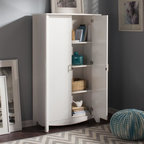 Bush - 2-Door Tall Storage Unit - Adaptable and contemporary design. Sophisticated look and sleek lines. Attractive quarter turned legs. Large storage capacity. Two adjustable shelves. One stationary shelf. Chrome plated metal door. Wipe clean. Warranty: One year. Made from particleboard and laminates. Pure white finish. 35.98 in. W x 15.35 in. D x 60.20 in. H (133.5 lbs.). Installation Guide