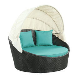 """LexMod - Siesta Canopy Outdoor Patio Daybed in Espresso Turquoise - Siesta Canopy Outdoor Patio Daybed in Espresso Turquoise - Awaken from your daytime repast while comfortably ensconced in this boundless elliptical daybed. Return to newly focused strength and vigor with an affluent all-weather white cushion and retractable sun guard. Siesta's modern form shows that, independent of everything, your space in the world is determined by your ability to make the most out of revitalized pursuits. Set Includes: One - Siesta Outdoor Wicker Patio Canopy Bed Three - Siesta Outdoor Wicker Patio Throw Pillows Synthetic Rattan Weave, Powder Coated Aluminum Frame, Water & UV Resistant, Machine Washable Cushion Covers, Ships Pre-Assembled Overall Product Dimensions: 63""""L x 63""""W x 31""""H Seat Height: 14""""HBACKrest Height: 30""""H Armrest Dimensions: 1""""W x 22""""H - Mid Century Modern Furniture."""