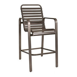 Woodard Landings Strap Barstool - You'll look forward to settling into the comfort of the Woodard Landings Strap Barstool with a chilled drink after a long day at work. With its clean lines and simple, yet upscale strap design, it blends well with any patio setting. As functional as it is stylish, the generous seat, with its plush cushions and supportive back, envelopes you in luxury all through the evening.Designed to withstand frequent use and the harshest elements, the sturdy, fully-welded aluminum frame comes in a choice of powder-coated finishes that will not rust, peel, or blister over the years. Made by Woodard, this barstool is just what you need to enjoy the poolside more than you've ever done before.Woodard: Hand-crafted to Withstand the Test of TimeFor over 140 years, Woodard craftsmen have designed and manufactured products loyal to the timeless art of quality furniture construction. Using the age-old art of hand-forming and the latest in high-tech manufacturing, Woodard remains committed to creating products that will provide years of enjoyment.Superior Materials for Lasting DurabilityIn the Aluminum Collections, Woodard's trademark for excellence begins with a core of seamless, virgin aluminum: the heaviest, purest, and strongest available. The wall thickness of Woodard frames surpasses the industry's most rigid standards. Cast aluminum furniture is constructed using only the highest grade aluminum ingots, which are the purest and most resilient aluminum alloys available. These alloys strengthen the furniture and simultaneously render it malleable. The end result is a fusion of durability and beauty that places Woodard Aluminum furniture in a league of its own.Fabric, Finish, and Strap Features All fabric, finish, and straps are manufactured and applied with the legendary Woodard standard of excellence. Each collection offers a variety of frame finishes that seal in quality while providing color choices to suit any taste. Current finishing processes are monitored for thickness, adhesion, color match, gloss, rust-resistance and, and proper curing. Fabrics go through extensive testing for durability and application, as well as proper pattern, weave, and wear.Together, these elements set Woodard furniture apart from all others. When you purchase Woodard, you purchase a history of quality and excellence, and furniture that will last well into the future.