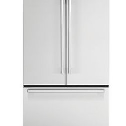 """Viking French-Door Bottom Freezer - The French-door Designer Series model opens wide to reveal features like two-moisture-adjustable see-through produce drawers, premium water filter, and see-through egg container for 24 eggs. The electronic """"door open"""" alarm warns when a door has been ajar for five minutes."""