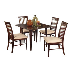 Atlantic Furniture - Atlantic Furniture Montreal 5 Piece Dining Set-Espresso - Atlantic Furniture - Dining Sets - AD83314231