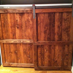 Barn Door Distressed Wood Cabinet by The Yellow Peony - There are few things I love more than barn doors, and this reclaimed door has been converted into a kitchen cabinet.