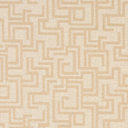 Beige And Ivory Geometric Outdoor Indoor Marine Upholstery Fabric By The Yard - This material is an upholstery grade outdoor and indoor fabric. It is stain, water, mildew, bacteria and fading resistant. It is also Scotchgarded for further stain resistance and durability. This material is woven for superior appearance.
