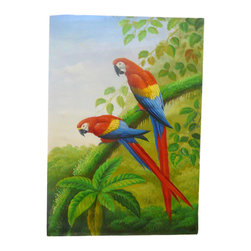 Golden Lotus - Oil Paint Canvas Art 2 Parrots Wall Decor - Oil painting on canvas.  ( ship in roll, no frame )