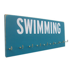 Swimming Medals Rack by Running on the Wall - My favorite part of the summer games was the swimming. For any swim moms, here's a hook rack to help keep the entryway neat while showing off your team spirit.