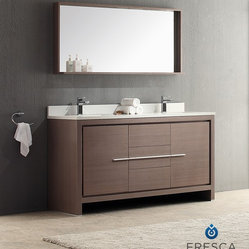 "Fresca - Fresca Allier 60"" Modern Double Sink Bathroom Vanity - Grey Oak - The Fresca 60"" Allier double sink bathroom vanity is the perfect model for the newlywed. It offers his and hers separate sinks, along with a unique square design. Plenty of storage space is available with an additional shelf on the matching mirror."