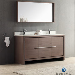 """Fresca - Fresca Allier 60"""" Modern Double Sink Bathroom Vanity - Grey Oak - At a width of 60"""" and depth of 20"""" and a height of 34"""", the Fresca Allier bathroom vanity is one of the most compact free standing double sink vanities available on the site. Accented with a 25.5"""" wide x 53.63"""" high mirror that includes a 6"""" deep shelf, this bathroom vanity can add both convenience and style to any modernly designed restroom. The optional side cabinet, sold separately, can further enhance your storage options.The Fresca Allier bathroom vanity comes complete with a matching ceramic countertop sink, p-trap and pop-up drain, along with the main cabinet, mirror, and standard hardware needed for installation. This bathroom vanity also comes with your choice of faucet for optimal personalization.DecorPlanet is proud to offer Fresca Bathroom products. Fresca is a leading manufacturer of high-quality vanities, accessories, toilets, faucets, and everything else to give you the freshest bathroom in the neighborhood. Fresca is known for carrying the latest and most popular styles in modern and contemporary bathroom design that are made with high quality materials and superior workmanship."""