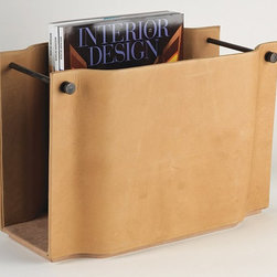 Studio A - Studio A 7.90124 Serpentine Camel Traditional Magazine Caddy - Antiqued soft leather exterior with bronze hardware.