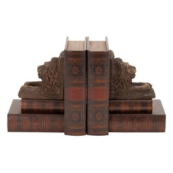 Benzara - Wood Leather Bookend Pair For Reading Places - If you are looking for low cost but rare to find elsewhere decor item to bring extra galore that could refresh the decor appeal of short spaces on tables or shelves, beautifully carved 59357 Wood Leather Bookend Pair may be a good choice.
