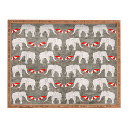 DENY Designs - Holli Zollinger Elephant And Umbrella Rectangular Tray - With DENY'S multifunctional rectangular tray collection, you can use it for decoration in just about any room of the house or go the traditional route to serve cocktails. Either way, you'll be the ever so stylish hostess with the mostess!