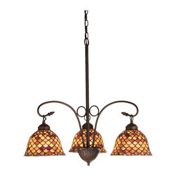 Meyda Tiffany - Meyda Tiffany Fishscale 3-Light Tiffany Chandelier X-54047 - Traditional details have been blended with classic Tiffany styling on this charming Meyda Tiffany chandelier from the Fishscale Collection. This dining room chandelier features beautiful stained glass shades whose varying tones of burgundy and amber give it a warm, inviting look. A deep Mahogany Bronze finish completes the look.