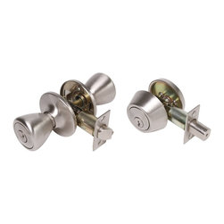 Premier - Tulip Style Lockset and Single Cylinder Deadbolt - Brushed Nickel - Legend 809033 Tulip Style Front Door Knob Entry Lockset and Single Cylinder Deadbolt Combination Set, US15 Satin Nickel Finish Features: Includes 2-3/8in.-2-3/4in. adjustable backset latch. Keyed Alike. Fits 1-3/8in.-1-3/4in. doors. KW1 keyway. Bilingual packaging.