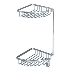 Gedy - Chrome Wire Corner Double Shower Basket - Contemporary style wall mounted corner wire double tier shower basket.